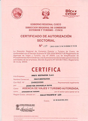 Inkas destination Certificate of travel agency