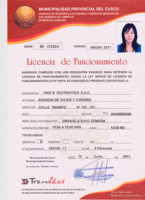 Operating license of Inkas Destination