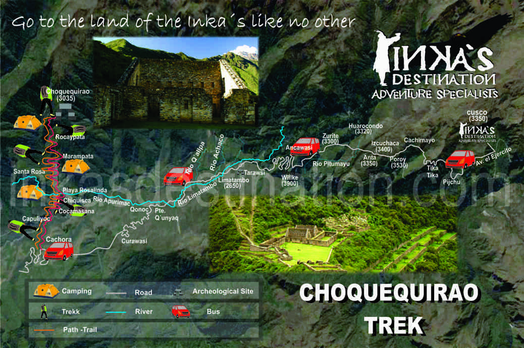 map choquequirao trek peru
