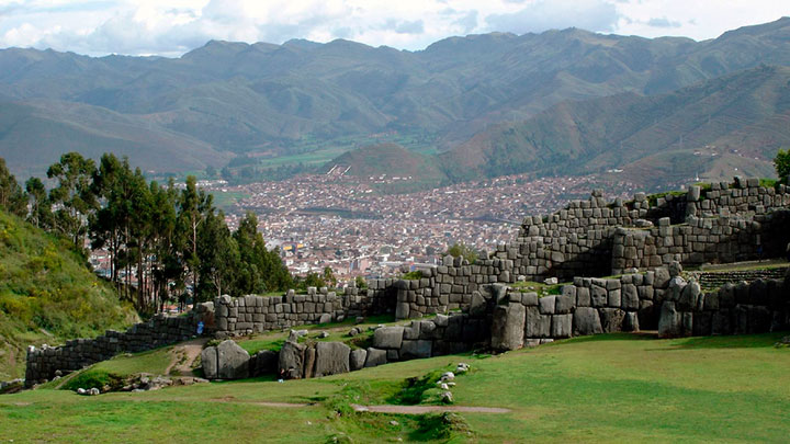View of the inca fortress of sacsayhuaman